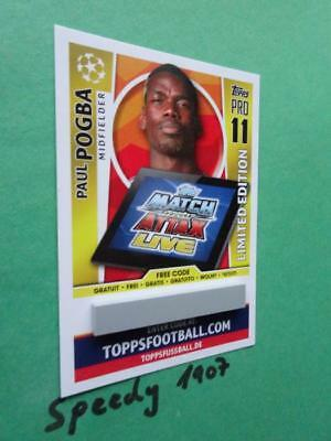 Topps Champions League 2017 18 limited Edition Code Card Pogba Gold Match Attax