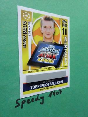 Topps Champions League 2017 18 limited Edition Code Card Reus Gold Match Attax