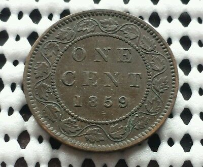 1859 ❀ Wide 9/8 ❀ Canada Bronze Large Cent Queen Victoria Variety