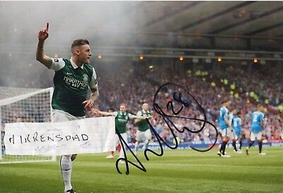 Hibs Anthony Stokes HAND SIGNED Scottish Cup Final 2017 photo 12in x 8in