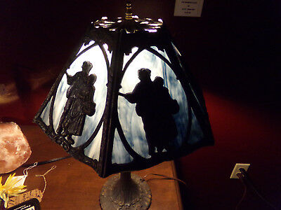 Vintage/antique Leaded Blue Stained Slag Glass With Couple Table Lamp 19""