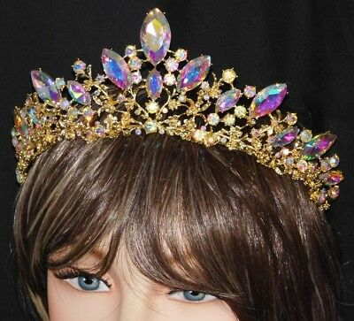 Ab Iridescent Rhinestone Crystal Beauty Queen Tiara Crown Bridal Pageant