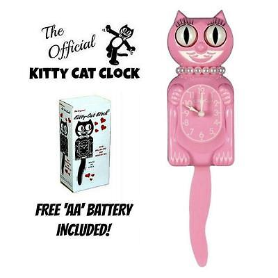 "PINK MISS KITTY CAT CLOCK (3/4 Size) 12.75"" Free Battery MADE IN USA Kit Kat NEW"