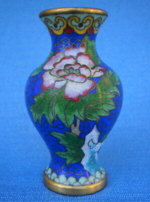 Lovely Vintage Chinese Brass Cloisonne Enamelled Floral Decorated Vase - *vgc*