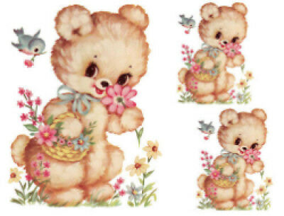 Vintage Image Retro Nursery Bear Flower Basket Furniture Transfers Decals AN548