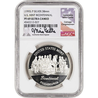 (1993) P US Mint Bicentennial Silver Medal - NGC PF69 UCAM - Castle Signed