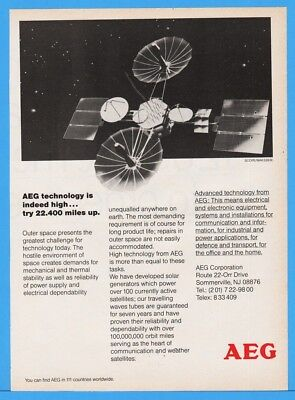 1985 AEG Technology Giant Satellite Outer Space Earth Orbit GREAT ART Ad