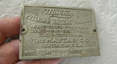 Vintage MAYTAG Cylinder Washing Machine, Newton, Iowa IA Brass Name Plate, Sign