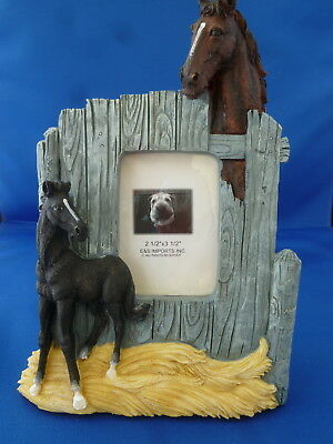 NIB! E&S Two Horses in the Barn  Picture Frame