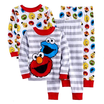 ELMO COOKIE MONSTER 3T 4T Toddler Boys PAJAMAS Cotton Pjs ONE SET Sesame Street
