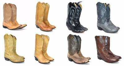Men's WHOLESALE LOT 8 EXOTIC LEATHER WESTERN COWBOY WORK BOOTS MEXICO USA