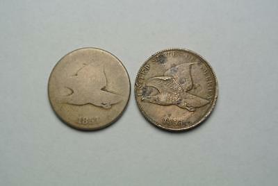 1857 & 1858 Flying Eagle Cents, AG Condition - C4698