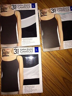 NEW Ladies Felina 3 Pack Ultra Soft Cotton w Modal Stretch Camisole-Colors Vary