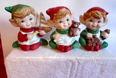 Homco 5253 Ceramic Christmas Figurine Set Elf Toy Makers Boat Bear Train Vtg