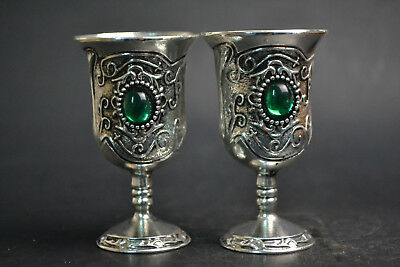 China Fine Vintage Collectible Old tibet silver plate inlay jade pair cup