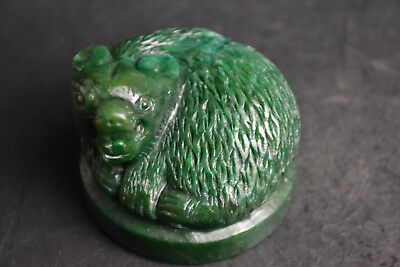 Curled up the body Collectible Vintage green jade carve bar self-defense Statue