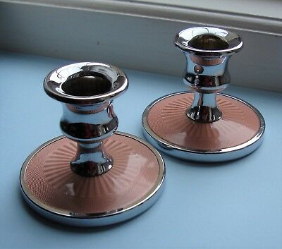 Pair dressing table vanity Art Deco candle holders ~ chrome & pink guilloche