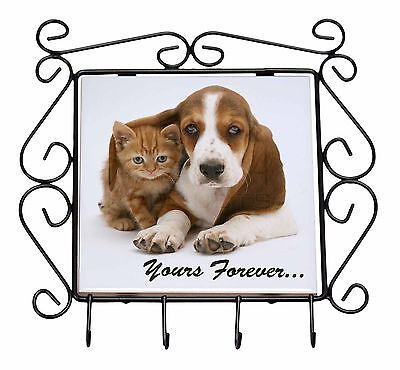 Basset Hound and Cat 'Yours Forever' Wrought Iron Key Holder Hooks Chr, AD-BH2KH
