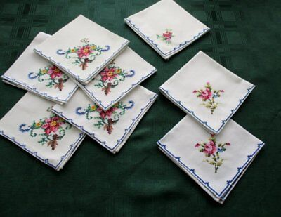 Vintage Tea Napkins - Hand Embroidery - Col. Of 8