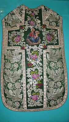 Biedermeier Brokat Kasel Messgewand, Chasuble, Casula, Pianeta