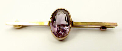 Victorian 9ct Gold & AMETHYST Bar Brooch PIN Perfect For RING/PENDANT Conversion