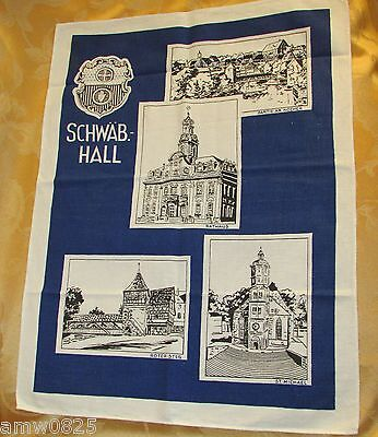 Vintage Kitchen Towel Germany Schwab Hall Rathaus Unused Blue Printed Cotton