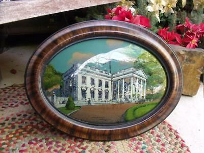 Antique 1917 Reverse Painting on Glass of The White House Convex Glass W Wilson