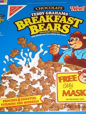 1990 New! Chocolate TEDDY GRAHAMS BREAKFAST BEARS CEREAL w Mask Blue Box Flat