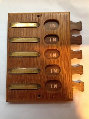 Mid century wood in/out board with brass name plates