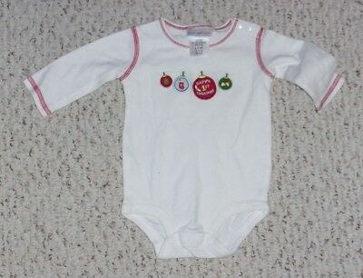 Just One Year White L/S Bodysuit w/ String of Christmas Ornaments, 0-3 mos, VGUC