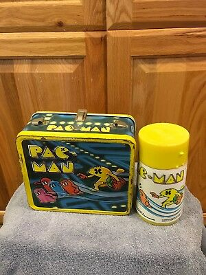 Vintage 1980s Pac Man Metal Lunchbox with Thermos No Handle!