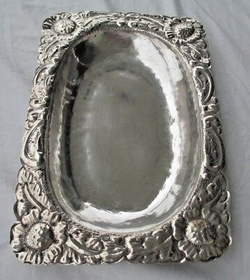 19Th Cent Spanish Colonial Silver Tray Hand Chased Weighs 289 Grams 900 Silver