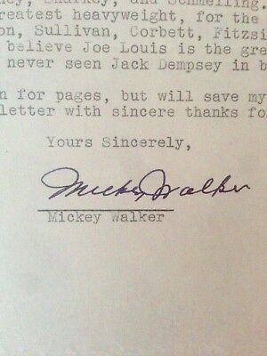 Superb Rare Vintage Legendary Champion Mickey Walker Autographed Letter To Fan!!