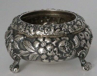 Antique Sterling Silver Repousse Salt Cellar by Baltimore Silver Co. C1900