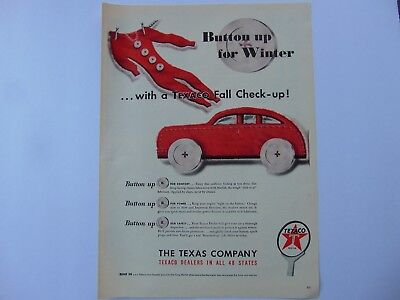 1947-TEXACO FALL CHECK-UP Button Up For Winter- print ad-A265