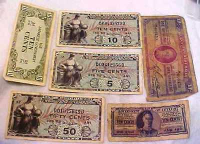 Six Old Circulated Banknotes 1/- Malta & Ceylon 10 Cents 1943 & Japan 10 Cent +