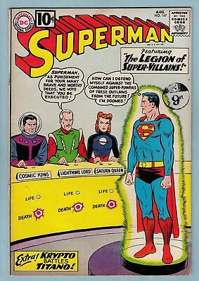 SUPERMAN # 147 VG+ (4.5) 1st LEGION OF SUPER-VILLAINS APPEARANCE - GLOSSY - 1961