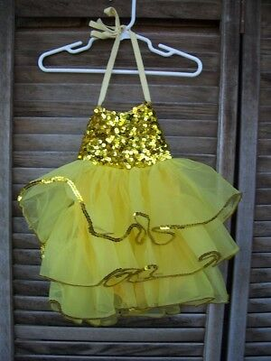 LEO'S DANCEWEAR~yellow sequined skirted leotard~2-3X~size 2T to 3T~tap dance~