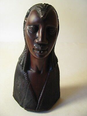 Hand Carved Wood African Man Bust Figure Made In Kenya