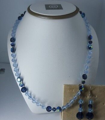 Gorgeous Austrian Crystal Light Sapphire And  Montana Ab Necklace And Earrings