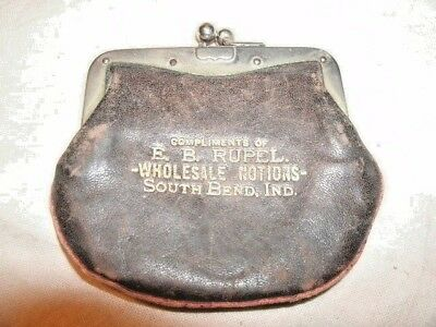 Small Leather COIN PURSE.  Marked: E.B. Rupel. SOUTH BEND, Indiana