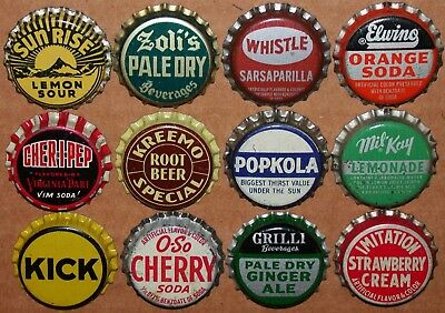 Vintage soda pop bottle caps Lot of 12 ALL DIFFERENT Mix #54 cork lined unused