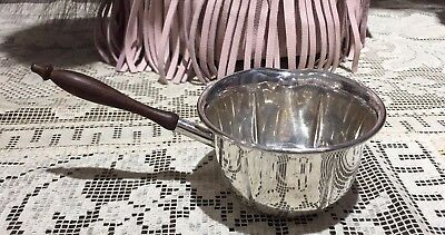 Vintage Lenox Sterling Silver & Wood Gravy or Brandy Warmer
