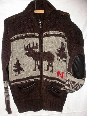 Front Zip NII Sweater Patches On Elbows Moose Motif Unisex M