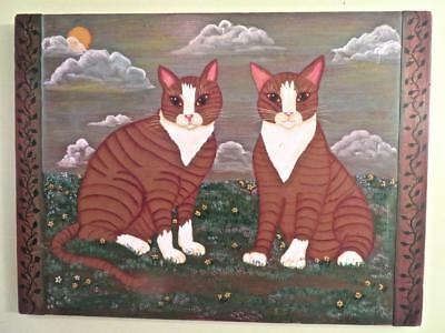 Folk Art Painting Two Cats