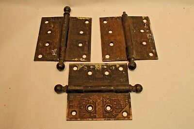 3 Matching Antique Cast Iron  Fancy Cannon Ball Pin 4X4 Door Hinges Brass Plated