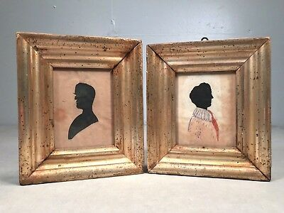 AAFA Antique SILHOUETTE PAIR Husband & Wife Painted Body Gilt Frames