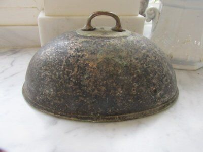 FABULOUS Old SMALL Silverplate MEAT FOOD COVER DOME GREAT PATINA