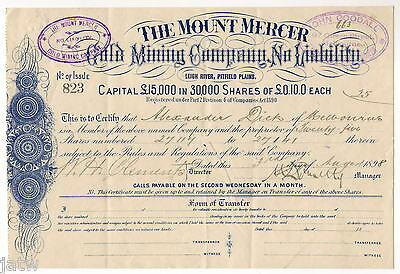 Share Scrip .1898 Mount Mercer Gold Mining Co. Leigh River, Pitfield Plains VIC