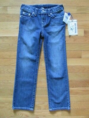 True Religion Boys Straight Single End Blue Jeans, Adj Waist, Tr736Jn194, Nwt, 7